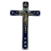 """Cobalt Blue Murano Crucifix cm.9.5x16 - 3 3/4""""x 6 1/4"""""""