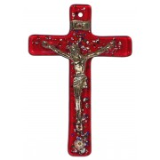 """Red Murano Crucifix cm.6.5x10.5 x 2 1/2"""" x 4"""""""