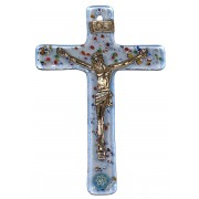 """Blue Murano Crucifix cm.6.5x10.5 x 2 1/2"""" x 4"""""""