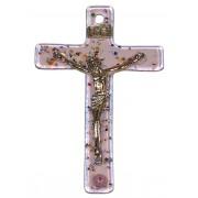 """Pink Murano Crucifix cm.6.5x10.5 x 2 1/2"""" x 4"""""""