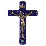 """Cobalt Blue Murano Crucifix cm.6.5x10.5 x 2 1/2"""" x 4"""""""