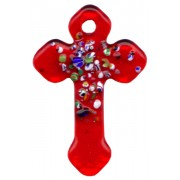 Red Murano Cross Long cm.4- 1 3/4""