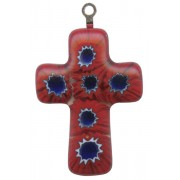Murano Venetian Glass Cross Hand Made Red cm.3- 1 1/4""