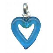 Murano Venetian Glass Cross Hand Made Heart Blue