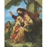 """Jesus with Children High Quality Print with Gold cm.20x25- 8""""x10"""""""