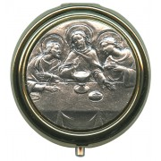Last SUpper Metal Gold Plated Pyx with Pewter Picture mm.60- 2 1/2""