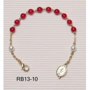 Gold Plated Rosary Bracelet Ruby Red