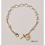 Gold Plated Rosary Bracelet Crystal