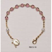 Gold Plated Rosary Bracelet Amethyst