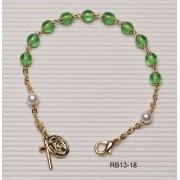Gold Plated Rosary Bracelet Peridot
