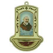 "Padre Pio White Water Font cm.9x13 - 3 1/2""x5"""