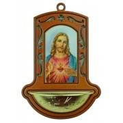 "Sacred Heart of Jesus Brown Water Font cm.9x13 - 3 1/2""x5"""