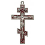 Orthodox Oxidized Metal Crucifix with Red Enamel cm.8.5 - 3 1/2""