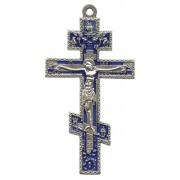 Orthodox Oxidized Metal Crucifix with Blue Enamel cm.8.5 - 3 1/2""