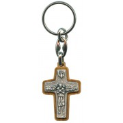 Good Shepherd/ Pope Francis Oxidized Crucifix with Olive Wood Keychain cm.5 - 2""