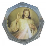 Divine Mercy Clear Octagon Rosary Box cm.5.4x 2 1/8""