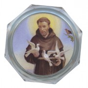 St.Francis Clear Octagon Rosary Box cm.5.4x 2 1/8""