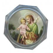 "St.Joseph Clear Octagon Rosary Box cm.5.4x 2 1/8"""