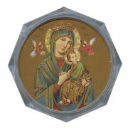 Perpetual Help Clear Octagon Rosary Box cm.5.4x 2 1/8""