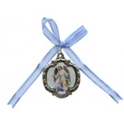 Guardian Angel Crib Medal with Blue Ribbon cm.4 - 1 1/2""