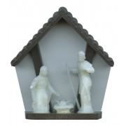 """Brown Plastic Stable with Luminous Holy Family cm.6- 2 1/4"""""""