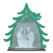 Plastic Nativity Luminous with Green Tree Arch cm.6.5 - 2 1/2""
