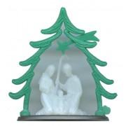 "Plastic Nativity Luminous with Green Tree Arch cm.6.5 - 2 1/2"""