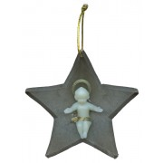 "Brown Plastic Star with Luminous Baby Jesus cm.8.5- 3 1/4"""