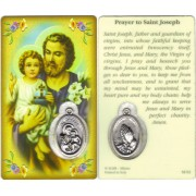 "St.Joseph Prayer Card with Medal cm.8.5 x 5 - 3 1/4"" x 2"""