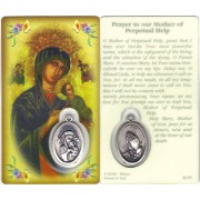 "Perpetual Help Prayer Card with Medal cm.8.5 x 5 - 3 1/4"" x 2"""