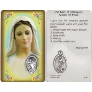 "Our Lady of Medjugorje Prayer Card with Medal cm.8.5 x 5 - 3 1/4"" x 2"""