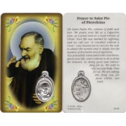 "Padre Pio Prayer Card with Medal cm.8.5 x 5 - 3 1/4"" x 2"""