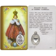 "Prayer to/ Infant of Prague Prayer Card with Medal cm.8.5 x 5 - 3 1/4"" x 2"""