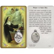 "Prayer to/ St.Rita Prayer Card with Medal cm.8.5 x 5 - 3 1/4"" x 2"""
