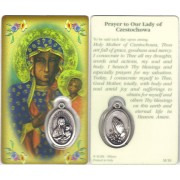 "Prayer to/ Czestochowa Prayer Card with Medal cm.8.5 x 5 - 3 1/4"" x 2"""