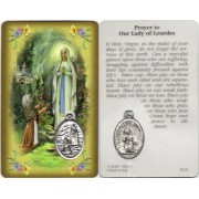 "Prayer to/ Lourdes Prayer Card with Medal cm.8.5 x 5 - 3 1/4"" x 2"""