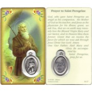 "Prayer to/ St.Peregrine Prayer Card with Medal cm.8.5 x 5 - 3 1/4"" x 2"""