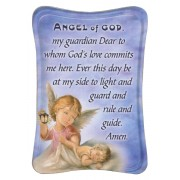"Guardian Angel Mini Standing Plaque English cm.7x10 - 3""x4"""