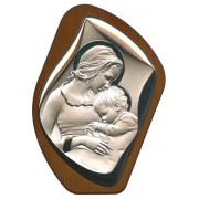"""Mother and Child Silver Laminated Plaque cm.17x23 - 6 3/4"""" x 9"""""""