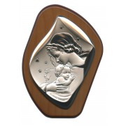 """Mother and Child Silver Laminated Plaque cm.11x14.5 - 4 1/4""""x 5 1/2"""""""