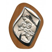 """Mother and Child with Guardian Angel Silver Laminated Plaque cm.6.5x5 - 2 1/2""""x2"""""""