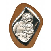 """Mother and Child Silver Laminated Plaque cm.6.5x5 - 2 1/2""""x2"""""""