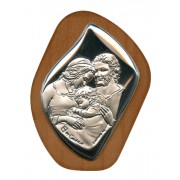 "Holy Family Silver Laminated Plaque cm.6.5x5 - 2 1/2""x2"""