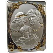 """Holy Family Silver Laminated Plaque cm.25x33- 10""""x13"""""""