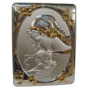 """Mother and Child Silver Laminated Plaque cm.25x33- 10""""x13"""""""