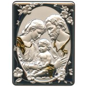 """Holy Family Silver Laminated Plaque cm.16.5x21.5- 6 1/2""""x 8 1/2"""""""