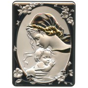 """Mother and Child Silver Laminated Plaque cm.16.5x21.5- 6 1/2""""x 8 1/2"""""""