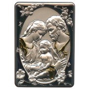 """Holy Family Silver Laminated Plaque cm.10x14 - 4""""x 5 1/2"""""""
