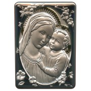 """Mother and Child Silver Laminated Plaque cm.10x14 - 4""""x 5 1/2"""""""