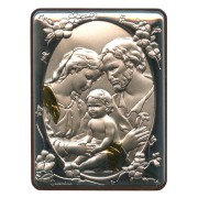"""Holy Family Silver Laminated Plaque cm.5x6.5 - 2""""x2 1/2"""""""